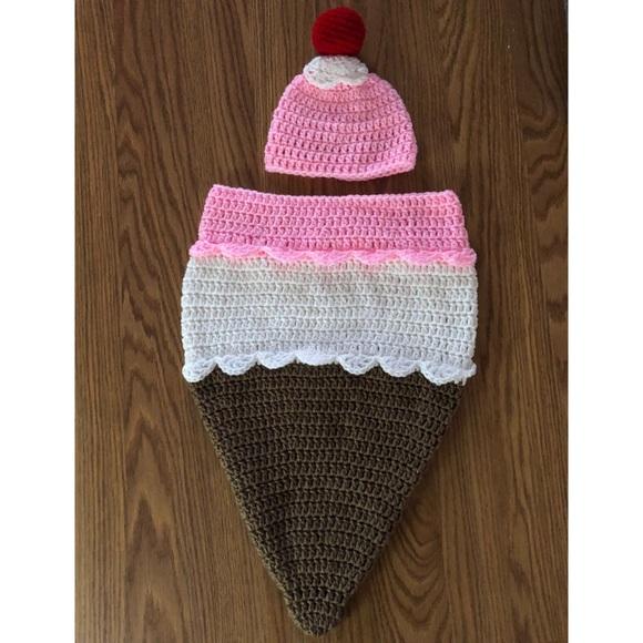 cb2b14e44 Handmade Crochet Ice Cream Cone Baby Cocoon NWT